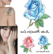 Body Art Temporary Removable Tattoo Stickers Red And Blue Flowers RC2246 Sticker Tattoo - FashionLife