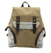 Fansela(TM) Womens Aztec Print Canvas Leather College School Backpack Travel bag