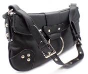 Satchel Style Shoulder Bag small Handbag with stud detailing and adjustable handle BLACK