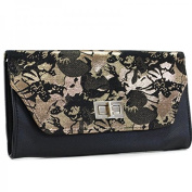 Laurence c-Pochette Evening Events Flower-Gold