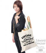 VINTAGE 1955 AGED TO PERFECTION 60th Birthday Present Tote Bag - With A Black Print - Edward Sinclair Shoulder Bag