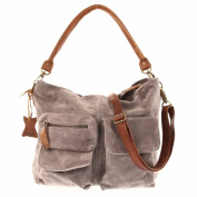 Leconi vintage look velour leather shopper handbag women LE0039-V