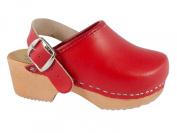 Children clogs heel strap red