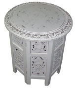 Jaipur Solid Wood Hand Carved Accent Table - Antique White - Handcrafted Carved Wood Folding Accent Table - Size