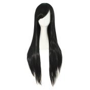MapofBeauty New Style Kanekalon Fibre Black Fashion Long Straight Wig