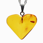 Baltic Amber Honey Heart Pendant Medium Size, Comes with lovely gift box.