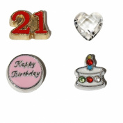 21st Birthday set 4 Floating charms - 21 red and gold, Happy Birthday in pink, Cake with stones and clear heart