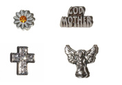 Godmother set 4 Floating charms - Godmother, Angel, Cross with stones and Daisy