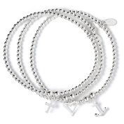 Set of 3 Sterling Silver 'Rice & Noodle' Ball Bead Bracelets- Love Hope & Charity