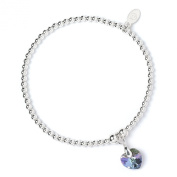 Sterling Silver 'Rice & Noodle' Ball Bead Bracelet with. Crystal Elements Vitrial Purple Heart