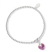 Sterling Silver 'Rice & Noodle' Ball Bead Bracelet with. Crystal Elements Pink Rose Heart
