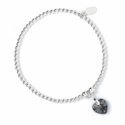 Sterling Silver 'Rice & Noodle' Ball Bead Bracelet with. Crystal Elements Black Diamond Heart