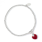 Sterling Silver 'Rice & Noodle' Ball Bead Bracelet with. Crystal Elements Red Sian Heart