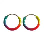 Sterling Silver 925 Anodised Coloured Hoop Sleeper Earrings