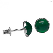 6mm Round Genuine Green Onyx Cabochon 925 Sterling Silver Ear Stud Earrings Pair