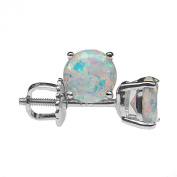 6mm Round Faceted Synthetic White Opal Rhodium Plated 925 Sterling Silver Screw Back Stud Earrings Pair