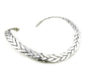 Large Solid 925 Sterling Silver Woven Choker Torc 44cm