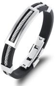 Ostan Men's Jewellery Rubber Stainless Steel Wire Bracelet Cuff Bangle Black