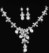 Bling Bling Elegant Designer Clear Crystal Diamante Exclusive Bridal Necklace and Earrings Jewellery Set