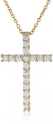 Platinum or Gold-Plated Sterling Silver Zirconia Cross Pendant Necklace, 46cm