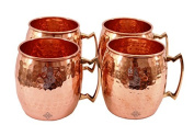Indian Art Villa Handmade Best Quality Set Of 4 Moscow Mule Pure Solid Copper