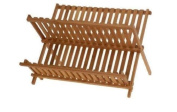 New Bamboo Folding Beech Dish Plate Drainer Foldable Draining Board Wooden Rack.