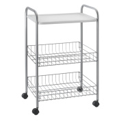 Metaltex Boston Rolling Storage Cart Vegetable Rack with Tray, Silver