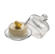 ROUND GLASS BUTTER DISH WITH LID/PAT WITH LID