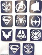 #5 REFILL STENCILS ONLY - 11 X SUPER HERO GLITTER TATTOO STENCILS