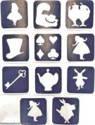 #4 REFILL STENCILS ONLY - 11 X ALICE IN WONDERLAND GLITTER TATTOO STENCILS