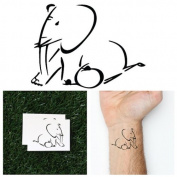 Linear Elephant Temporary Tattoo