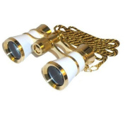 HQRP 3 x 25 Opera Binoculars / Theatre Glasses White pearl with Gold Trim w/ Necklace Chain by HQRP