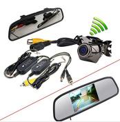BW® 11cm Car TFT LCD Monitor Mirror+Wireless Reverse Parking Backup CCD Camera Waterproof Backup Kit