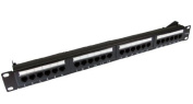World of Data® - 24 Port 1U Rack Mountable CAT5e Patch Panel - Backwards compatible with Category 3 & 5 - can be mounted in 48cm Racks - Supplied with a cable management bar - Supplied with a cable management bar - Support T568 A & B wiring & Ea ..