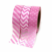 Dress My Cupcake Party Collection Washi Paper Tape, Pink, Set of 3
