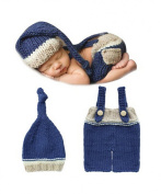 Jastore® Photography Prop Baby Costume Cute Blue Crochet Knitted Hat Pants