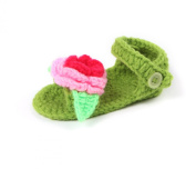 JTC Handmade Crochet Knit Flowers Sandal Girls Infant First Walking Shoes Gift For Baby