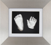 BabyRice New Baby Casting Kit with 15cm x 13cm Brushed Pewter 3D Box Display Frame / White Mount / Black Backing / Silver paint