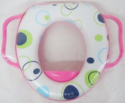 Baby Soft Padded Potty Training Toilet Seat With Handles PINK CIRCLE