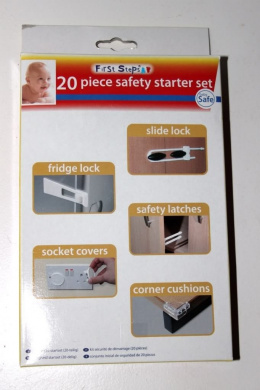First Steps - 20 Piece Safety Starter Set - Keep Your Child Safe. Inlcudes Fridge Lock, Slide Lock, Safety Latches, Socket Covers and Corner Cushions.