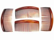 4 Pack 9cm Tort Brown Hair Side Combs Slides Grips