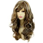 Wonderful wavy Long Blonde Brown mix Curly Heat Resistant Ladies Wigs Hair UK