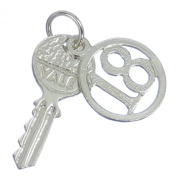 18th Birthday yale key sterling silver charm .925 x1 Eighteenth Birthdays BJ1077