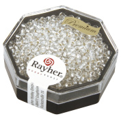 Rayher 14701801 Beads with Silver Detail 2.2 mm / 12 g Rock Crystal