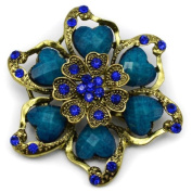 Elixir77UK Large Antique Gold Colour Flower Decoration Pin Brooch with Crystals UK SELLER