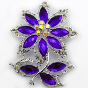 NEW 7.1cm LARGE SILVER plated FLOWER & LEAF BROOCH PURPLE rhinestone DIAMANTE CRYSTAL bridal wedding BROACH GIFT UK