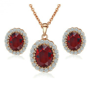 Yoursfs Princess Kate Style Rose Gold Plated Charming Sapphire Necklace and Earring Wedding Set