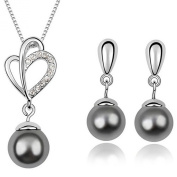 FLORAY Ladies Transparent Crystal and Dark Grey Shell Pearl Pendant Necklace and Earrings Jewellery Set