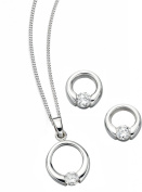 Elements Sterling Silver Ladies Clear CZ Open Disc Pendant and Earring Set of Length 41-46cm