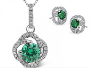 Elegant Silver Emerald Crystal Necklace & Earring Set With 46cm Sterling Silver Chain